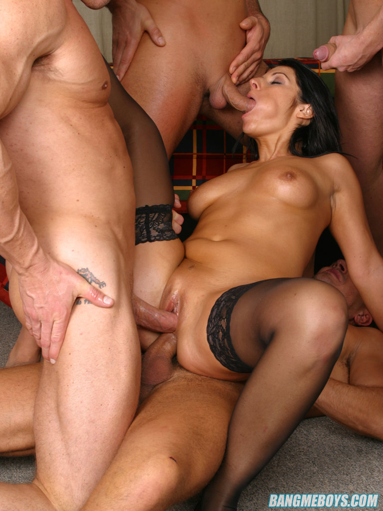 image Blonde slut gets gang banged with some double anal