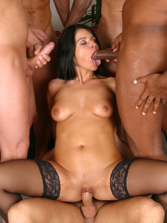Gang bang action with pornstar and five guys