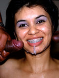 Latin babe Claudia double fucked by two hung Latino studs