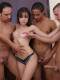 Sasha Grey bukkake face drenched after sucking on a group of lucky guys