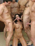 India Summer sucks multiple dicks before getting power face fucked and facialized