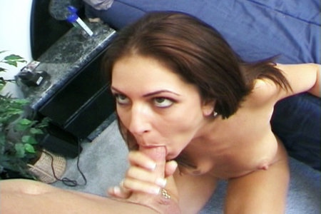 Kinky brunette pornstar giving head and swallowing cum