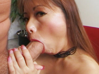 Sexy asian hottie giving head to world famous Peter North