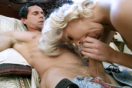 Small boobed blonde riding a cock from Club Peter North