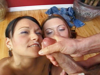 Big cock getting sucked by two chicks Jenny Rider and Maria
