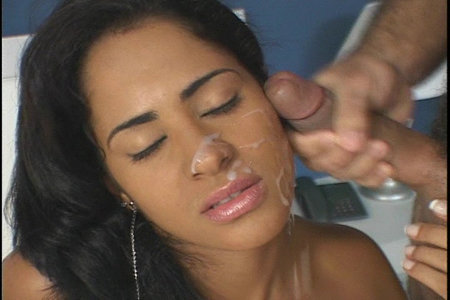 This lovely Latin girl fucks and gets facialized