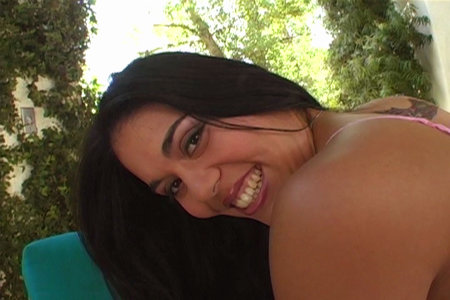 Cheerful latina fucked by two guys from Only DP
