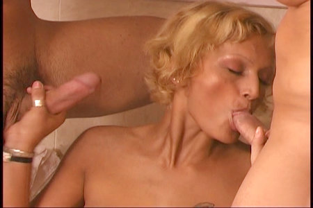 Blonde giving head in this 3some from Only DP