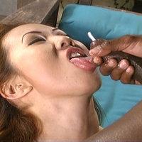 Dick-hungry Asian pornstar sucks and fucks with a black guy