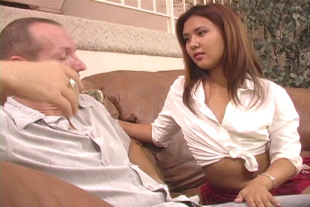 Young Asian cutie Kylie Rey sucks and fucks hard with Chris
