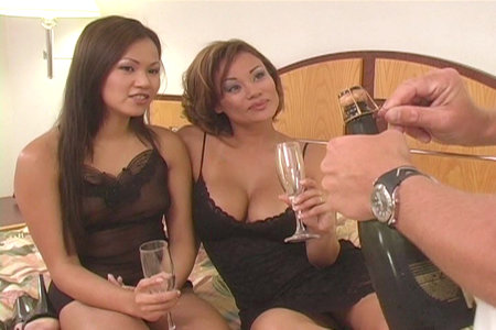 Two Asian whores and a white guy in this hardcore threesome