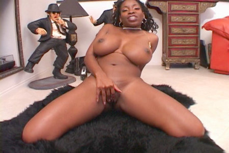 Busty black hottie teasing with her body and dildo-fucking from Club Vanessa Blue