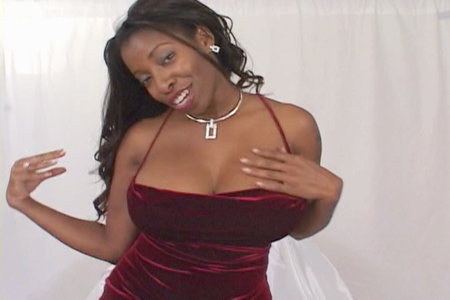 Fine busty ebony broad Vanessa Blue teasing in a sexy dress from Club Vanessa Blue