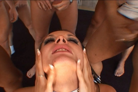 Alektra has her face drenched by more than one cock