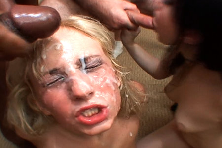 Hardcore blonde sucks with a dark-haired babe for a facial