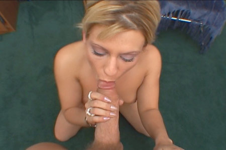 Cute short-haired blonde Amber Wild sucking a massive dick from Load My Mouth
