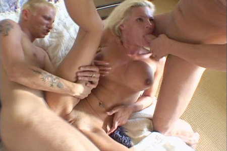 Amazing big-titted blonde sucking two dicks and humping hard from Hardcore Gangstas