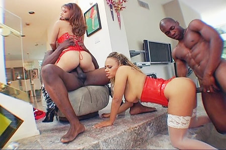 Strong Lexington Steele stuffs prick in young ebony vagina