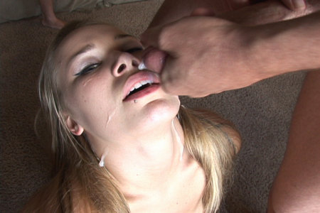 Filhty babe choking after sucking some serious meat pieces from Cover My Face