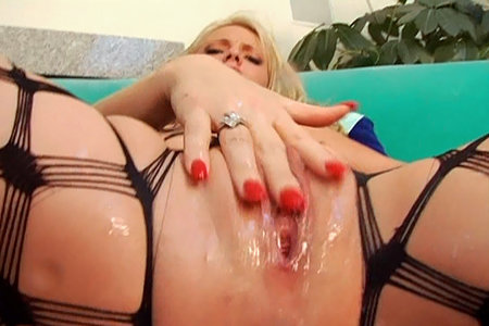 Wild blonde pornstar Missy Monroe fucking hard in a fishnet from Swallow Squirt