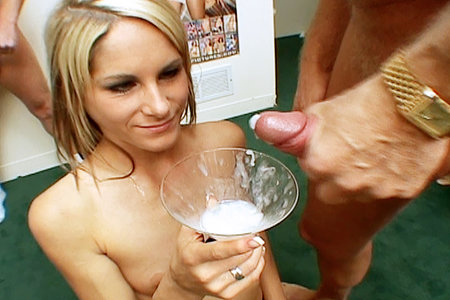 Blonde gets sperm into a cocktail from Sperm Cocktail