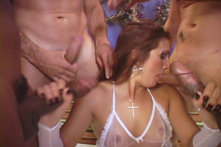 Hot brunette in gangbang action from Bang Me Boys