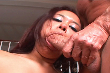 Annie Cruz sucks on a thick prick until her shoots a load of his goo all over her face