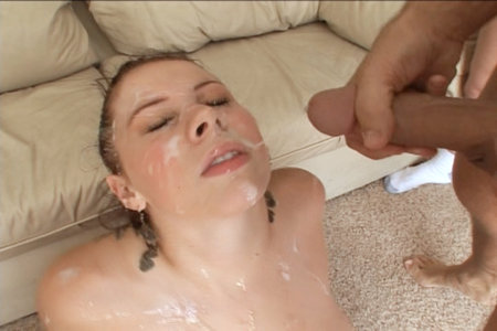 Gianna Michaels got her big forehead creamed from long penises