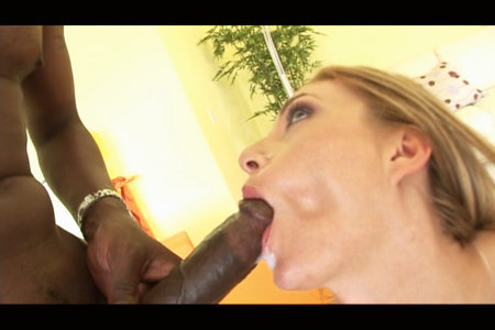 Blond in interracial tag team with two big black cocks from Lex Steele