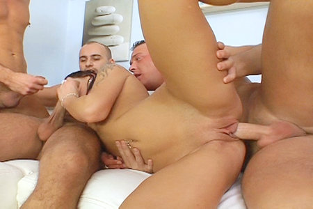 Hot brunette in some wild hardcore gang bang action