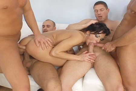 Hot brunette in this hardcore group action series
