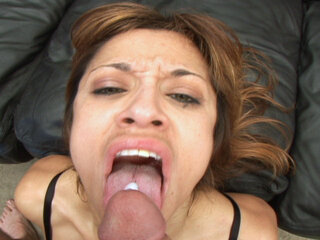 Amateur whore swallows - Mature looking slut swallows a huge load of cum