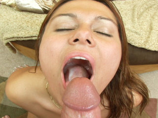 Load my mouth - Amateur babe in this hardcore swallowing series