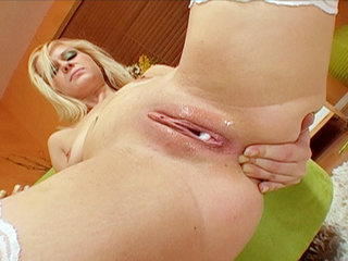 Stunning blond in some very nasty cream pie action