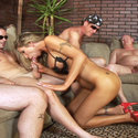 Group blowjob action