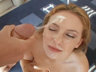 Cumload gets sprayed all over Christie Lees pretty  face