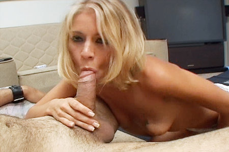 Brunette slut Katie Morgan gets facialized after blowing on some lucky studs huge cock