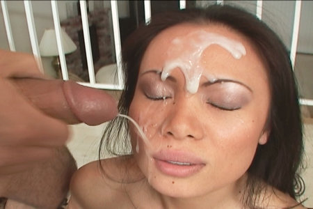 Asian babe Mya Luana facialized after sucking on this lucky guys throbbing cock