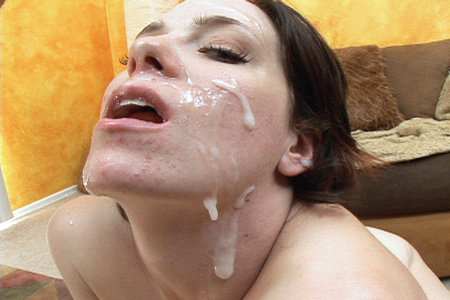 Hot little facial whore gets many face blasts