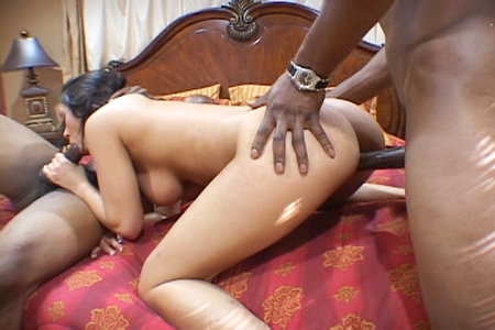 2 on 1 interracial fucking with lovely Charlie Chase from Lex Steele