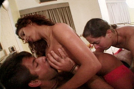 Latina double teamed by studs before getting her face covered in nut butter