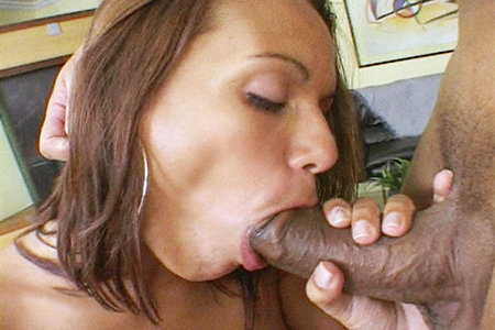 Brunette latina gets facialized after fucking a horse hung stud anally