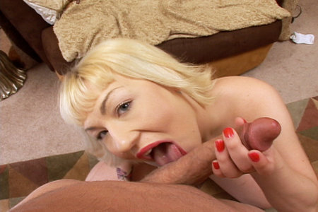 Page Morgan blows Brandons bone before swallowing his gooey surprise from Load My Mouth
