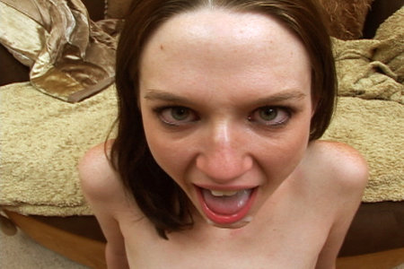 Skinny brunette nailed from behind before getting her mouth loaded up full of sperm by Brandon Iron from Load My Mouth
