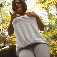 Kream plays with her tits before stripping and squirting 1. Real Squirt V12429