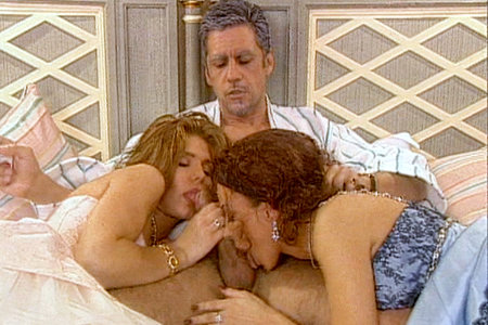Pierre Woodman scores with two hot sluts and blows his load.