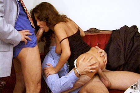 Slut gets banged really hard by two horny dudes
