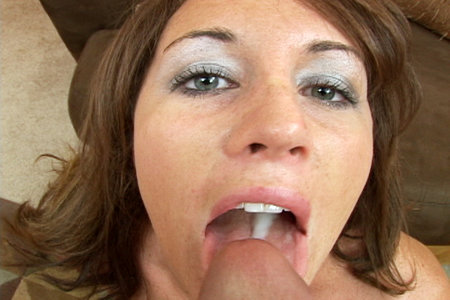 Perky brunette blows big bone from Load My Mouth