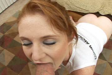 Redhead Slut Lucy Fire Gets Doggie Fucked Before Swallowing A Massive Cock!
