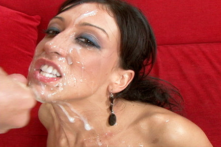 Rikki White gets face covered in cum after getting blow banged by a group of horny guys